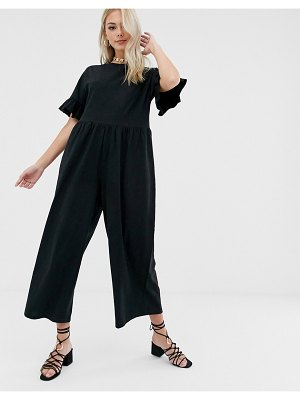 ASOS DESIGN smock jumpsuit with frill sleeve
