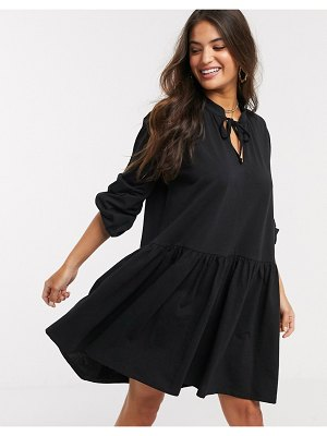 ASOS DESIGN smock mini dress with v front and ties in black