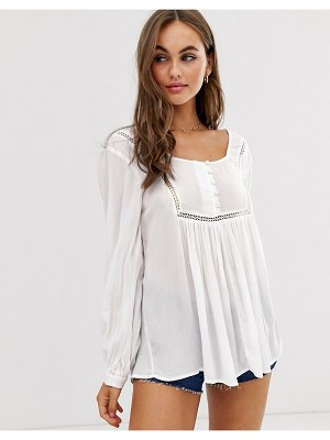 ASOS DESIGN smock top with button front detail in crinkle-white