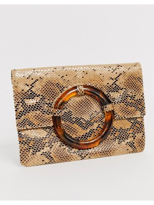 ASOS DESIGN snake clutch with tort ring-multi