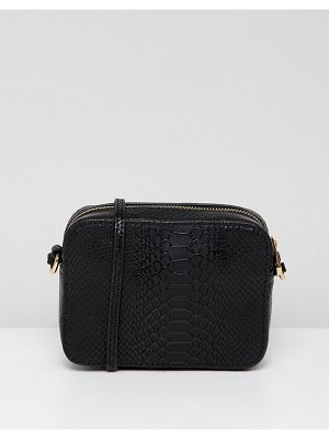 ASOS DESIGN snake effect cross body camera bag-black