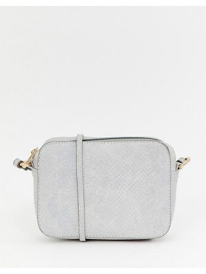 ASOS DESIGN snake effect cross body camera bag-gray