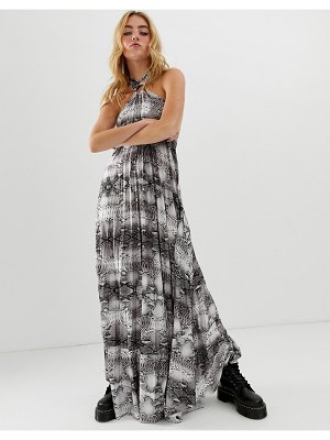ASOS DESIGN snake halter trapeze pleated maxi dress with ring detail-multi