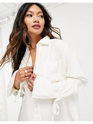 ASOS DESIGN soft denim oversized shirt in ecru and sleeve detail-neutral