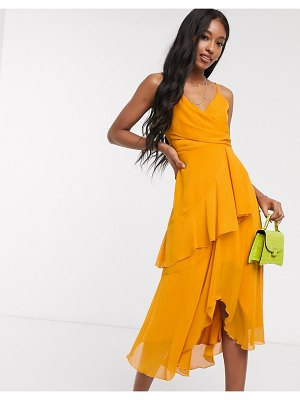 ASOS DESIGN soft layered cami midi dress in sunflower yellow-orange