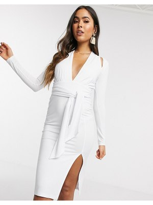 ASOS DESIGN spliced long sleeve midi dress with tie waist in white