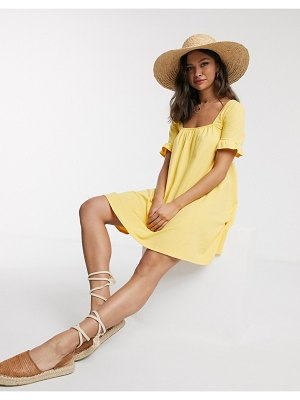 ASOS DESIGN square neck frill sleeve smock dress in buttermilk-yellow