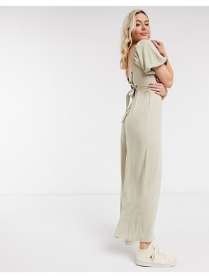 ASOS DESIGN square neck linen jumpsuit with tie back detail in cream