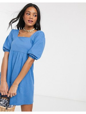 ASOS DESIGN square neck puff sleeve smock dress in blue
