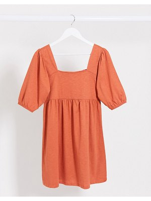 ASOS DESIGN square neck puff sleeve smock dress in rust-yellow