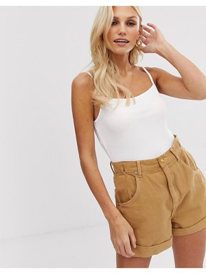 ASOS DESIGN square neck rib cami in white