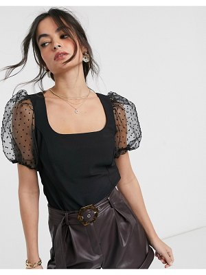 ASOS DESIGN square neck top with dobby organza sleeve-no color