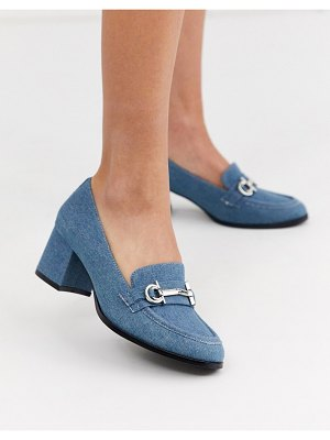 ASOS DESIGN stirrup mid-heeled loafers in denim-blue