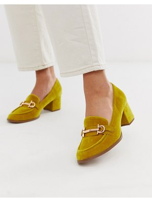ASOS DESIGN stirrup mid-heeled loafers in mustard-yellow