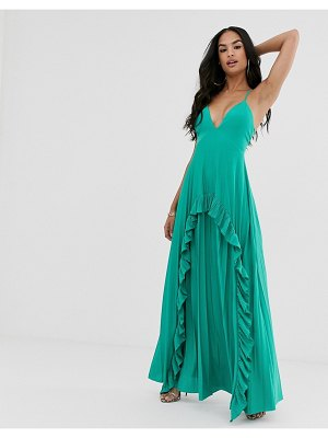ASOS DESIGN strappy pleated maxi dress with ruffle pleat detail-blue