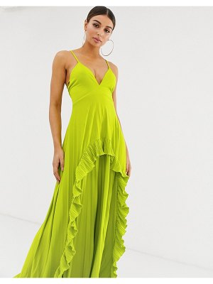 ASOS DESIGN strappy pleated maxi dress with ruffle pleat detail-green