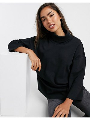 ASOS DESIGN structured oversized top with high neck in black