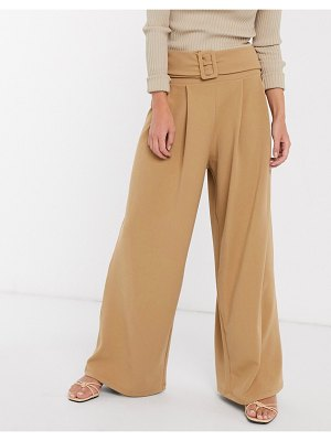 ASOS DESIGN structured pleat wide leg pants with belt in twill-beige
