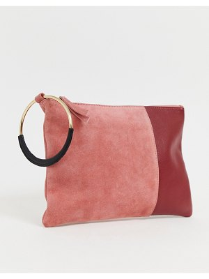 ASOS DESIGN suede and leather mix color block zip top clutch bag