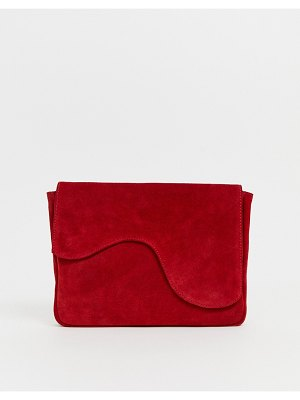 ASOS DESIGN suede assymetric clutch bag