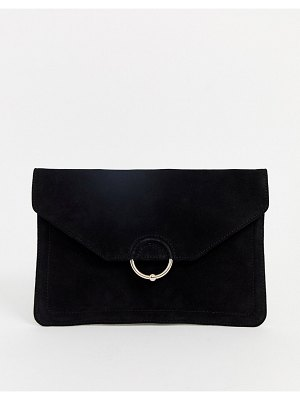ASOS DESIGN suede clutch bag with ring and ball detail-black