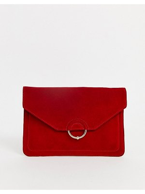 ASOS DESIGN suede clutch bag with ring and ball detail-red