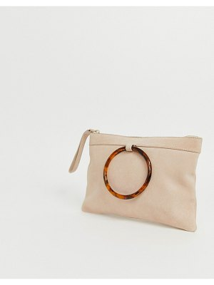 ASOS DESIGN suede clutch bag with tort ring detail