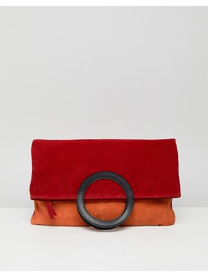 ASOS DESIGN suede color block foldover shopper clutch bag