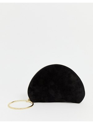 ASOS DESIGN suede half moon clutch bag with wristlet ring detail