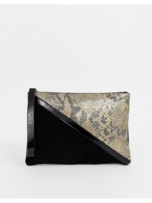 ASOS DESIGN suede paneled clutch bag with snake detail-multi