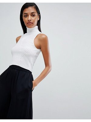 ASOS DESIGN super crop sweater in rib with high neck