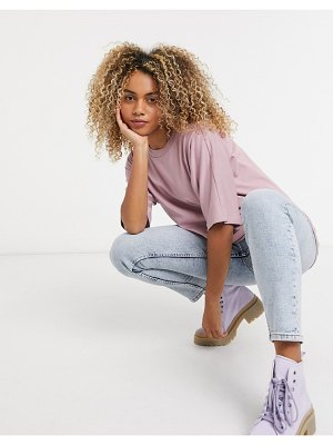 ASOS DESIGN super oversized t-shirt with batwing sleeve in mauve-pink