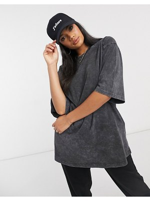 ASOS DESIGN super oversized t-shirt with stitch detail in washed charcoal-gray