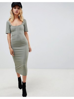 ASOS DESIGN super scoop rib midi dress with hook and eye