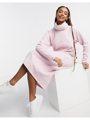 ASOS DESIGN super soft exposed seam sweater midi dress with cowl neck in pink