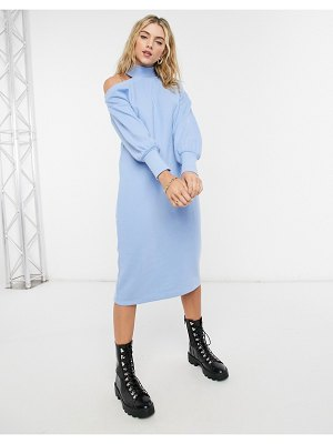 ASOS DESIGN super soft midi sweater dress with cut out shoulder in light blue