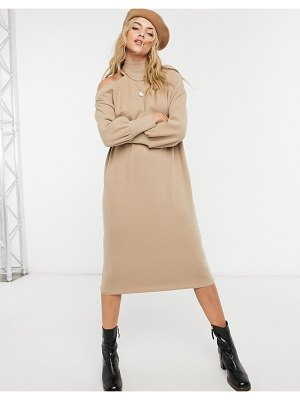 ASOS DESIGN super soft midi sweater dress with cutout shoulder in camel-brown
