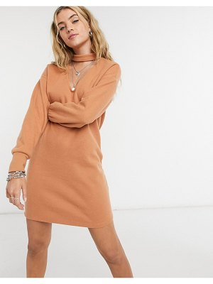 ASOS DESIGN super soft mini sweater dress with cut out front with long sleeve in tan-brown
