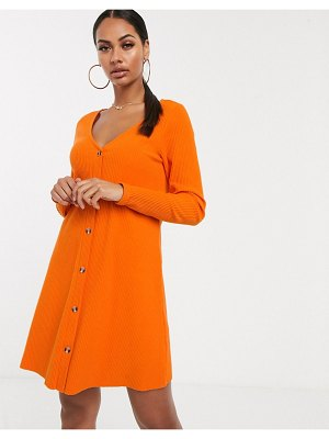 ASOS DESIGN super soft rib button through dress in orange-purple