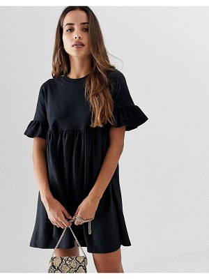 ASOS DESIGN sweat smock dress with frill sleeve-black