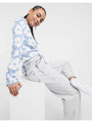 ASOS DESIGN sweater in floral pattern in blue-blues