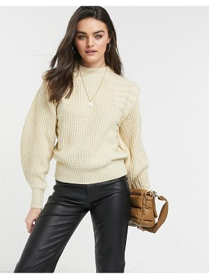 ASOS DESIGN sweater in mixed rib with shoulder detail in beige-neutral