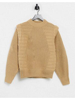 ASOS DESIGN sweater in mixed rib with shoulder detail in camel-green