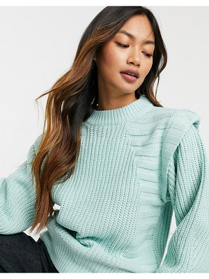 ASOS DESIGN sweater in mixed rib with shoulder detail in green