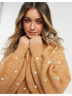 ASOS DESIGN sweater with contrast pom-pom detail in camel-stone