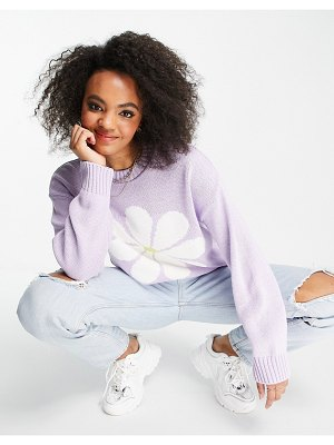 ASOS DESIGN sweater with daisy pattern in lilac-blues