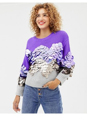 ASOS DESIGN sweater with oversized sequin detail-multi