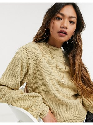 ASOS DESIGN sweater with shoulder pads in oatmeal-beige
