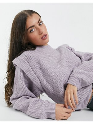 ASOS DESIGN sweater with structured shoulder in lilac-purple