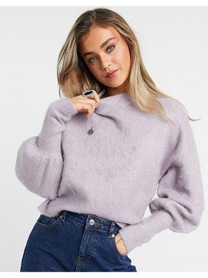 ASOS DESIGN sweater with volume sleeves in brushed knit in lilac-purple